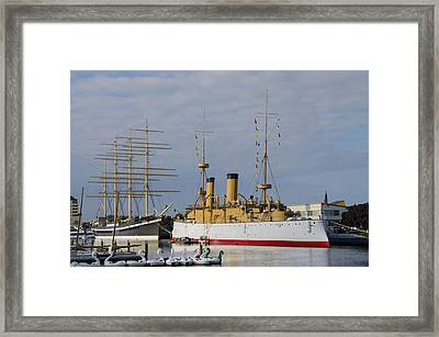 The Ships At Penns Landing Framed Print by Bill Cannon