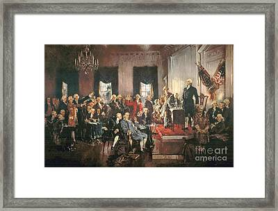 The Signing Of The Constitution Of The United States In 1787 Framed Print by Howard Chandler Christy
