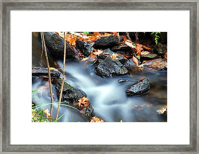 The Silvery Blue Green Velvet Effect Framed Print by Optical Playground By MP Ray