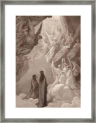 The Singing Of The Blessed In The Sixth Heaven Framed Print by Gustave Dore