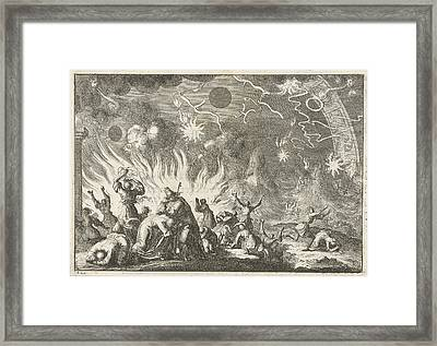 The Sinking Of The Earth, Jan Luyken, David Ruarus Framed Print by Jan Luyken And David Ruarus