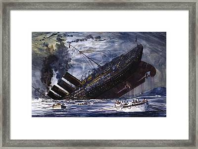 The Sinking Of The Titanic Framed Print by Graham Coton