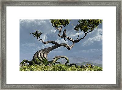 Curious3d Framed Print featuring the digital art The Sitting Tree by Cynthia Decker