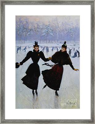 The Skaters Framed Print by Jean Beraud