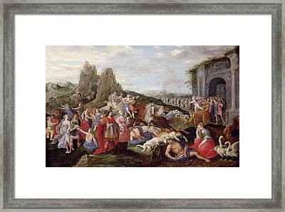 The Slaves And The Furies Of Love Oil On Panel Framed Print by Frans II the Younger Francken