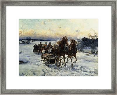 The Sleigh Ride Framed Print by Alfred von Wierusz Kowalski