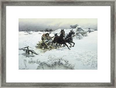 The Sleigh Ride Framed Print by Jaroslav Friedrich Julius Vesin