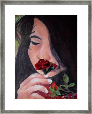 The Smell Of A Rose.. Framed Print by Brenda Almeida-Schwaar