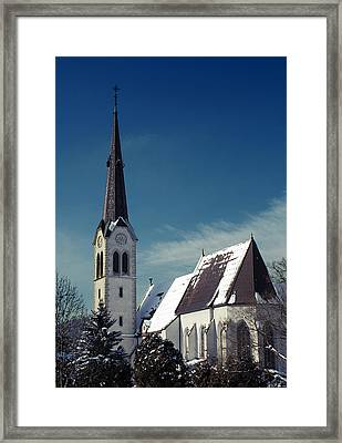The Snow And The Church Framed Print by Antonio Castillo