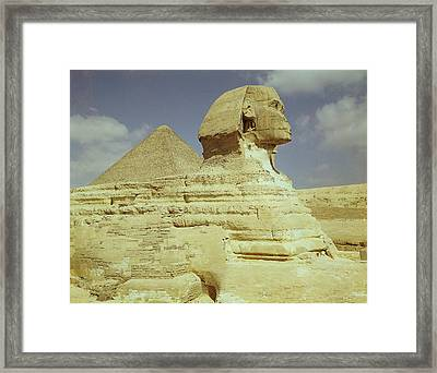 The Sphinx And The Great Pyramid Of Khufu At Giza, Old Kingdom, C.2613-2494 Bc Photo See Also 59243 Framed Print by Egyptian 4th Dynasty