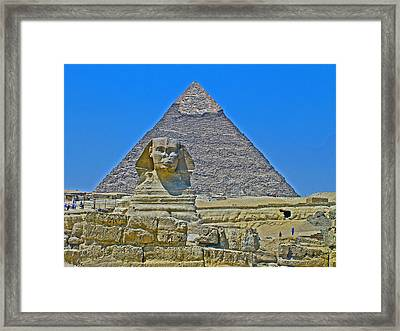 The Sphinx In Front Of Chephren Pyramid On Giza Plateau Near Cairo-egypt Framed Print by Ruth Hager