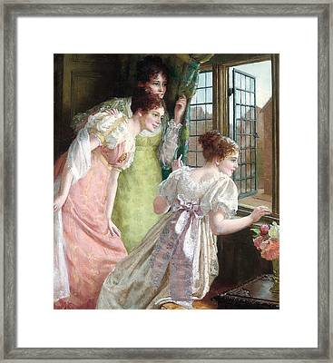 The Squire S Arrival Framed Print by Mary E Harding