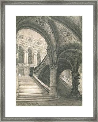 The Staircase Of The Paris Opera House Framed Print by Charles Garnier