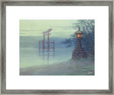 The Stone Lantern Cira 1880 Framed Print by Aged Pixel
