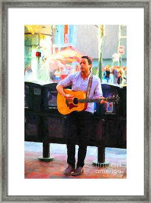 The Street Performer On Market Street - 5d20725 Framed Print by Wingsdomain Art and Photography