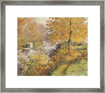 The Studio Boat Framed Print by Claude Monet