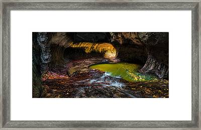 The Subway At Zion National Park - Pano Version Framed Print by Larry Marshall