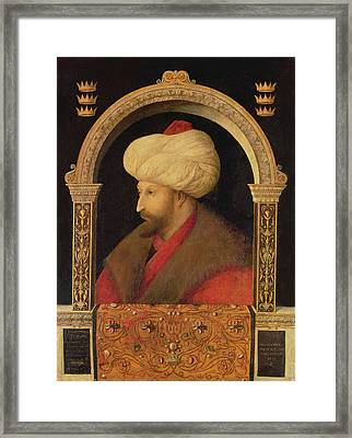 The Sultan Mehmet II 1432-81 1480 Oil On Canvas Framed Print by Gentile Bellini