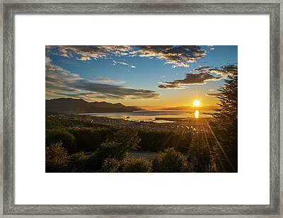 The Sun Rises Over The Port Of Ushuaia Framed Print by Nick Dale