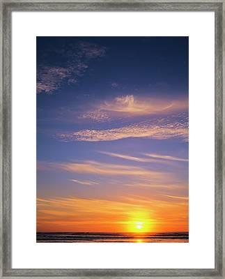 The Sun Sets At Umpqua Beach Framed Print by Robert L. Potts