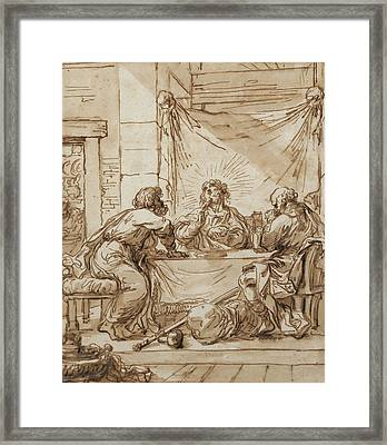 The Supper At Emmaus  Framed Print by Guercino