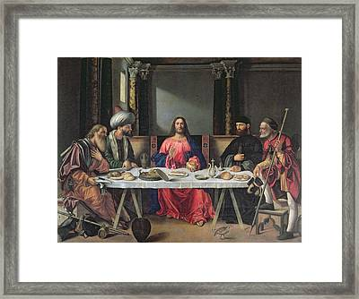 The Supper At Emmaus Framed Print by Vittore Carpaccio