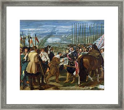 The Surrender Of Breda, 1625, C.1635 Oil On Canvas See Also 68345 Framed Print by Diego Rodriguez de Silva y Velazquez