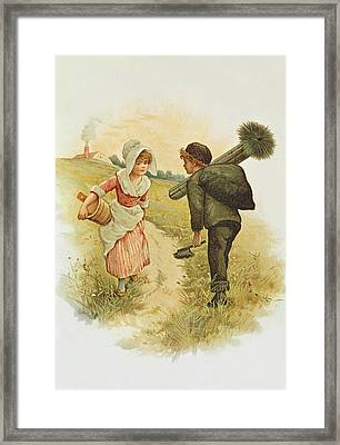 The Sweep And The Milkmaid Book Illustration Framed Print by Anonymous