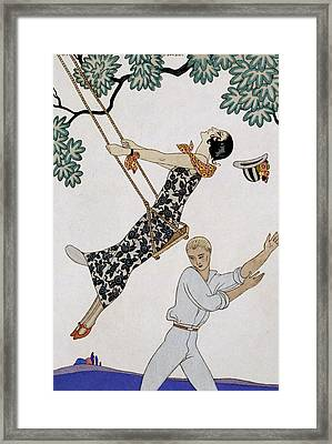 The Swing Framed Print by Georges Barbier