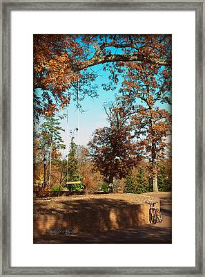 The Swing With Red Bicycle - Davidson College Framed Print by Paulette B Wright