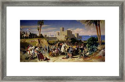 The Taking Of Beirut By The Crusaders Framed Print by Alexandre Jean Baptiste Hesse