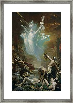 The Taking Of The Temple At Delphi By The Gauls, 1885 Oil On Canvas Framed Print by Alphonse Cornet