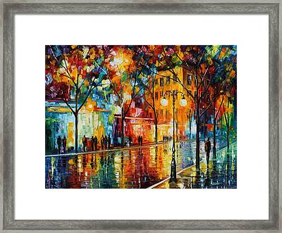 The Tears Of The Fall - Palette Knife Oil Painting On Canvas By Leonid Afremov Framed Print by Leonid Afremov