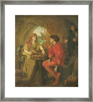 The Tempest Oil On Canvas Framed Print by Lucy Madox Brown