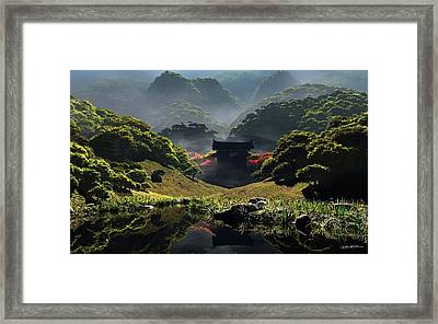 The Temple Of Perpetual Autumn Framed Print by Cynthia Decker