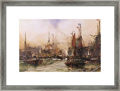 The Thames At Tower Bridge Framed Print by Charles Edward Dixon