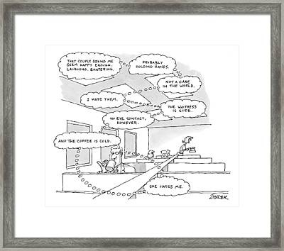 The Thought Bubbles Of A Man In A Diner: That Framed Print by Jack Ziegler