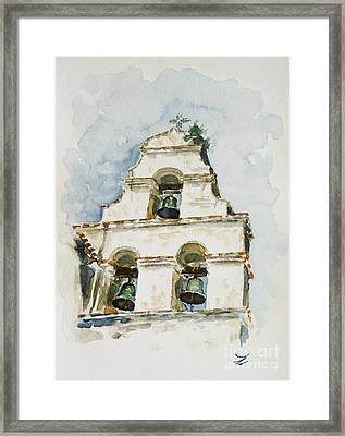 The Three-bell Campanario At Mission San Juan Bautista  Framed Print by Zaira Dzhaubaeva