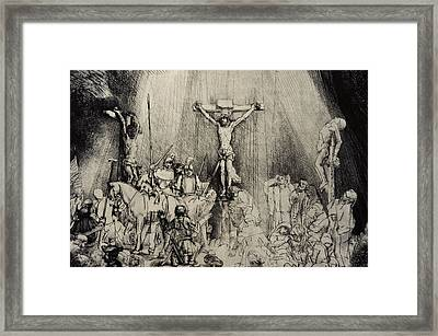 The Three Crosses Framed Print by Rembrandt Harmensz van Rijn
