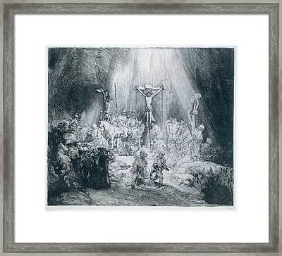 The Three Crosses Framed Print by Rembrandt