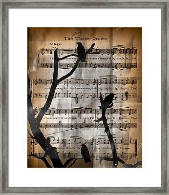 The Three Crows Framed Print by Gothicolors Donna Snyder