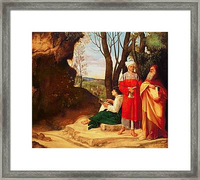The Three Philosophers Oil On Canvas Framed Print by Giorgione