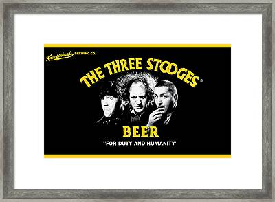 The Three Stooges Beer Framed Print by Official Three Stooges