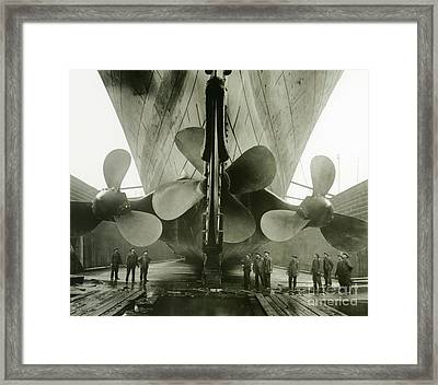 The Titanics Propellers In The Thompson Graving Dock Of Harland And Wolff Framed Print by English Photographer