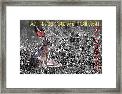 The Tortoise And The Hare Dont Put All Your Eggs In One Basket Easter Sunday 40d12379 Bw Framed Print by Wingsdomain Art and Photography
