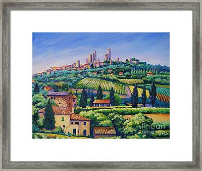 The Towers Of San Gimignano Framed Print by John Clark