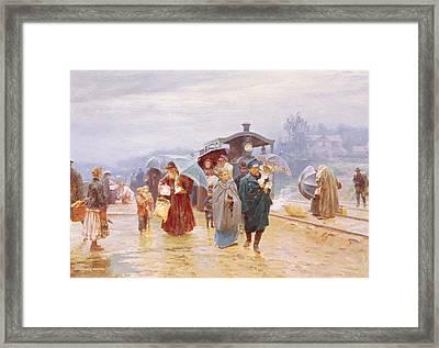 The Train Has Arrived, 1894 Framed Print by Nikolaj Alekseevich Kasatkin