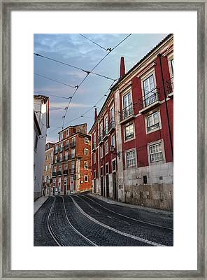 The Tram Stop Lisbon Framed Print by Carol Japp