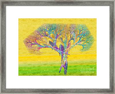 The Tree In Spring At Midday - Painterly - Abstract - Fractal Art Framed Print by Andee Design