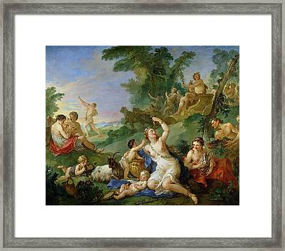 The Triumph Of Bacchus Oil On Canvas Framed Print by Charles Joseph Natoire
